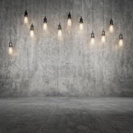 Photo pour Maquette mur en béton et plancher avec lumière de fond - image libre de droit