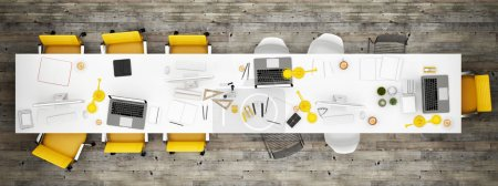 Photo for Top view office room, wooden floor background - Royalty Free Image