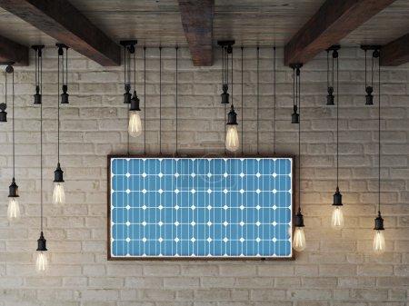 Foto de Marco de energía solar en la pared de ladrillo hace energía eléctrica - Imagen libre de derechos