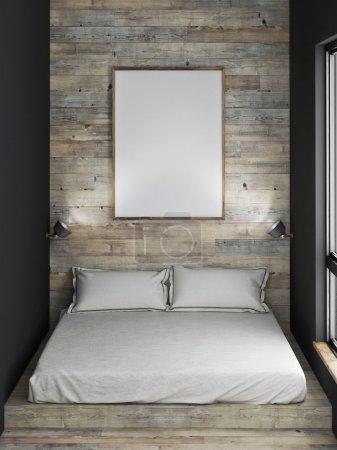 Mock up poster, bed, wooden wall, 3d illustration