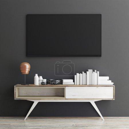 Mock up tv on grey wall, 3d illustration