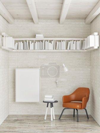 Photo pour Affiche maquillée, étagère sur mur de briques blanches, illustration 3D - image libre de droit