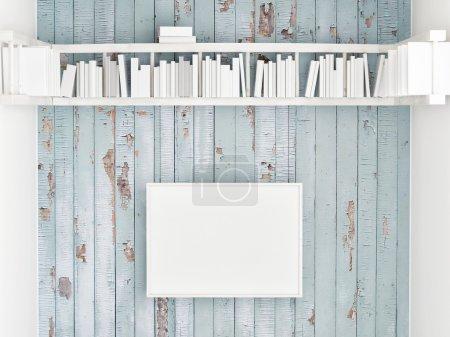 Photo pour Maquette affiche, étagère sur le mur en bois blanc, illustration 3d - image libre de droit