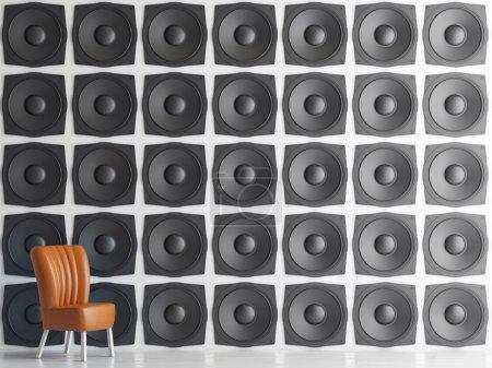 Wall of black speakers, 3d illustration