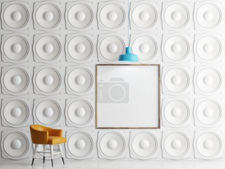 Wall of speakers with mock up poster, 3d illustration