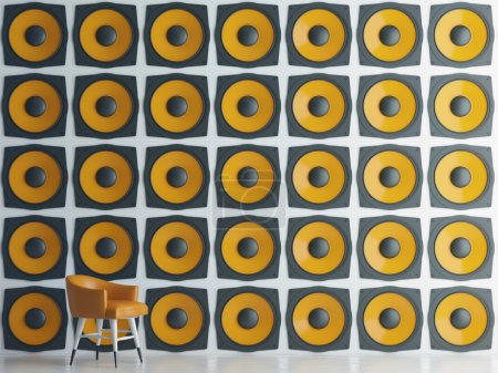 Wall of yellow speakers, 3d illustration
