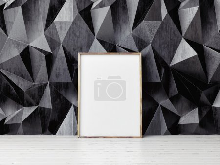 Poster mock up, black pattern wall background, 3d illustration