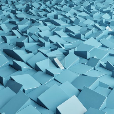 Abstract texture from blue cubes, 3d render