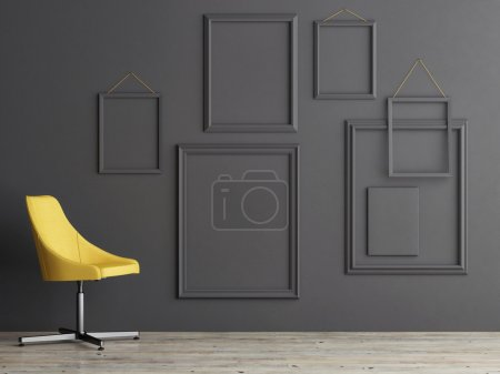 Frame composition on grey wall, 3d render