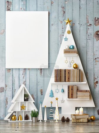 Mock up poster with abstract christmas trees
