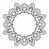 Round black and white frame in Oriental style with elements of the mandala The frame of a stylized flower with large petals