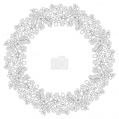 Round frame of flowers. Small flowers on a circle. Outline drawing.