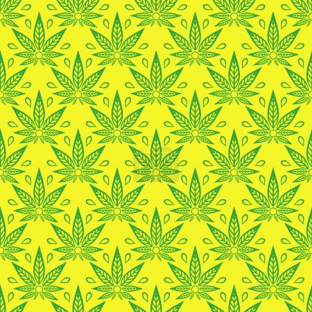 Seamless pattern with of cannabis leaves on a yellow background.