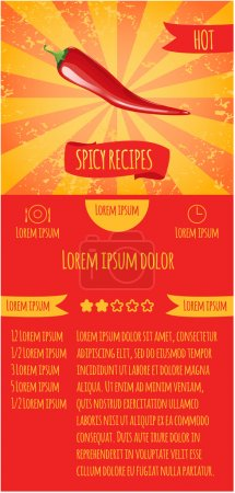 Three leaflets design recipes spicy dishes. Degree of severity: hot.