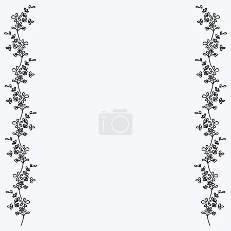 Black and white small flowers motif, photo frame, border.
