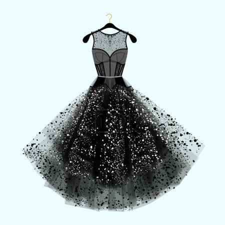 Beautiful party dress. Black dress with  rhinestones. Fashion illustration