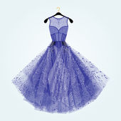Blue dress with rhinestones Fashion illustration  Blue dress for special event