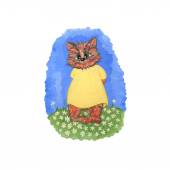 Cute cat hand painted illustration for holiday doodles and cards