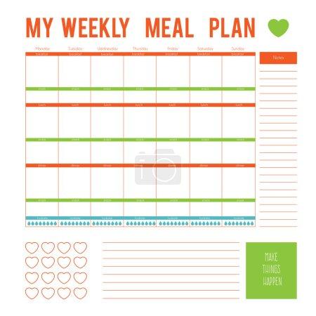 Illustration pour Repas Plan pour une semaine, page calendrier. Boîtes imprimables vectorielles, demi-boîtes, en couleurs plates pour les planificateurs, imprimables pour faire des pages pour le planificateur de vie. Page du plan de régime - image libre de droit