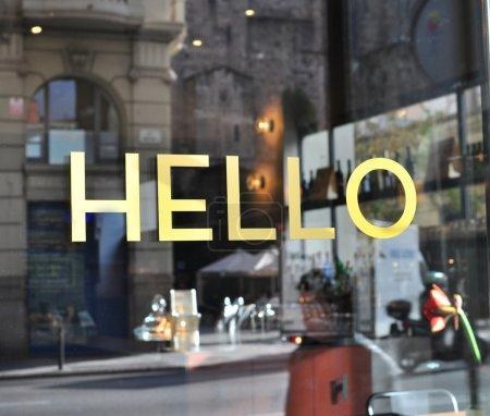 Photo pour Bonjour signe en langue anglais - image libre de droit