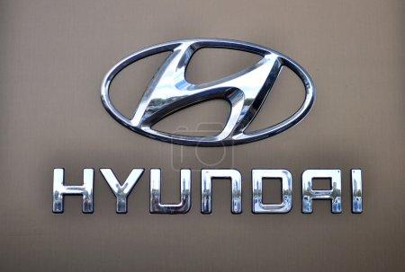 Logotype of Hyundai corporation on the grey background