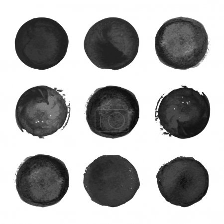 Illustration for Collection of black watercolor round stains  on white background - Royalty Free Image