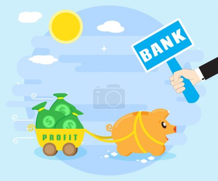 Keeping profits, wealth in the bank. Reliable preservation of savings. Happy pig piggybank keeps money in the bank. Flat style