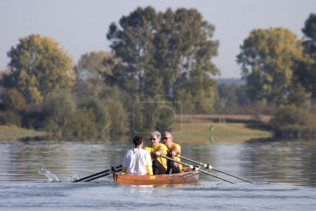 Rowing a canoe