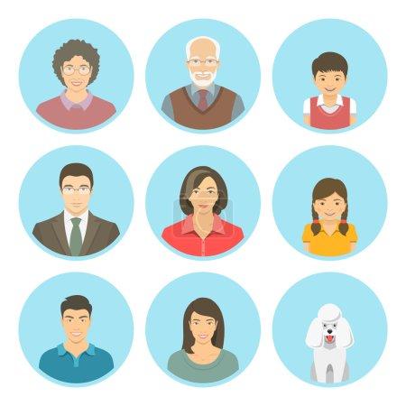 Asian family faces flat vector avatars set