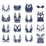 Bra design vector flat silhouettes icons set. Fema...