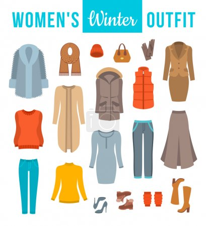 Women winter clothes flat vector icons set. Must h...