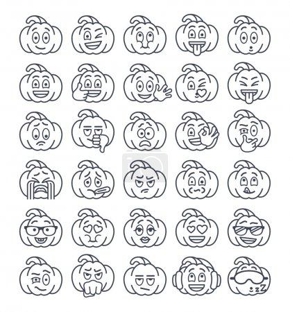 Halloween pumpkin thin line emoji emoticons