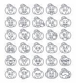 Halloween pumpkin thin line emoji emoticons