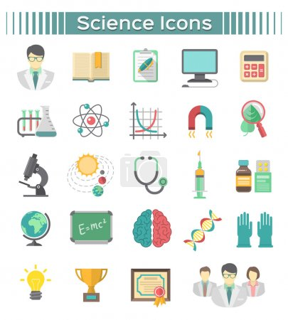 Illustration for Set of modern flat vector icons of different scientific spheres such as math, biology, chemistry, physics, astronomy, genetics, as well as symbols of a scientist and scientific cooperation. - Royalty Free Image