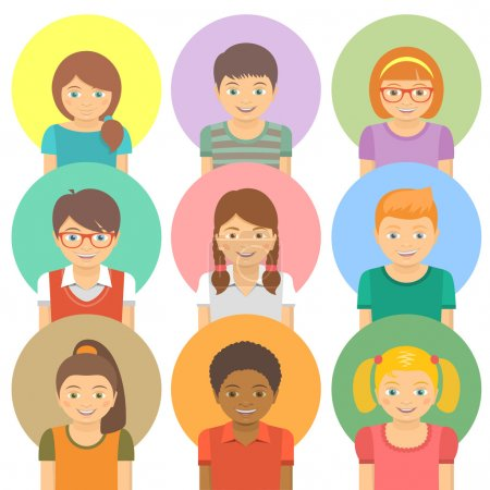 Illustration for Set of flat stylized avatars of different happy smiling kids on colored circles. Portraits of boys and girls of different ethnicity. - Royalty Free Image