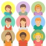 Set of flat stylized avatars of different happy sm...