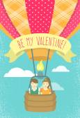 Vector flat stylized illustration of a boy and girl in love flying in a hot air balloon with ribbon and greeting inscription Valentine's Day card design