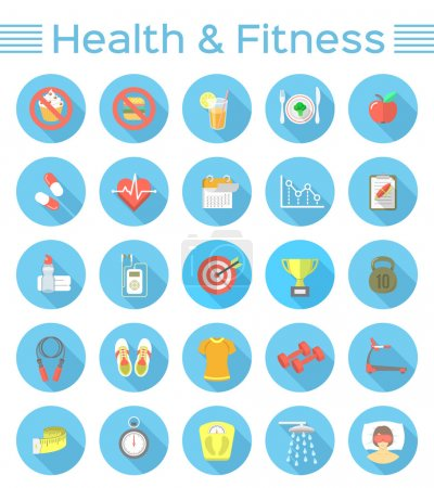 Illustration for Modern flat vector icons of healthy lifestyle, fitness and physical activity. Healthy diet, exercising in the gym, equipment and clothing for training. Wellness icons with long shadows for website, mobile application or print advertising. - Royalty Free Image