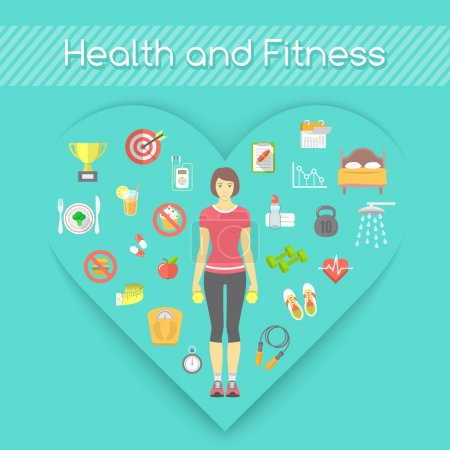 Illustration for Modern flat vector fitness conceptual illustration. Slim girl in sportswear with conceptual icons of shaping and healthy life in the shape of heart - Royalty Free Image