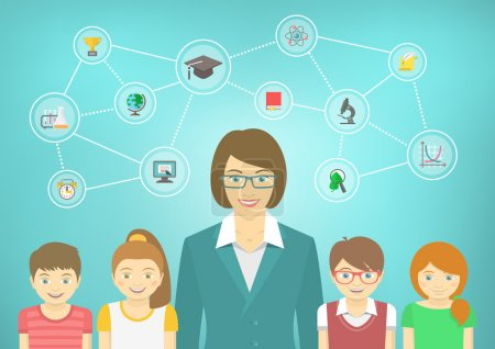 Photo for Modern flat vector conceptual illustration of woman teacher and pupils with school icons and concepts. Boys and girls in bright clothes. Kids infographics element - Royalty Free Image
