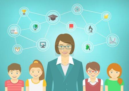 Illustration pour Illustration conceptuelle vectorielle plate moderne de l'enseignante et des élèves avec des icônes et des concepts scolaires. Garçons et filles en vêtements brillants. Élément infographique pour enfants - image libre de droit