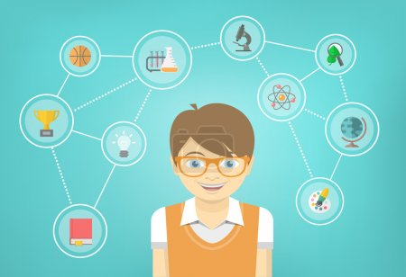 Genius Boy Interests Conceptual Infographics