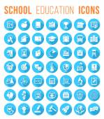 Round Flat White School Icons Silhouettes with long shadows