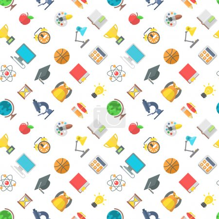 Modern Flat School Icons Seamless Pattern