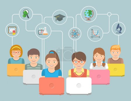 Photo for Modern flat conceptual vector illustration of group of kids with notebooks and education icons. Internet education innovative technology concept. Early education online program. E-learning concept - Royalty Free Image
