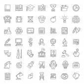 Flat Line Art School Subjects Icons
