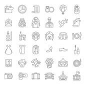 Set of modern flat linear vector wedding icons Line art conceptual symbols of wedding party for web site mobile or computer apps infographic presentation promotional materials