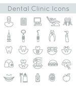 Zubní klinika služby ploché tenké linie ikony