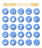 Delivery and logistics services flat round web icons