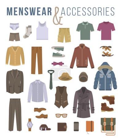 Illustration pour Hommes vêtements de mode et accessoires vectoriels plats icônes. Objets de tenue masculine vêtements, sous-vêtements, chaussures et tous les jours essentiels pour toute saison. Éléments de style urbain décontracté moderne pour homme - image libre de droit